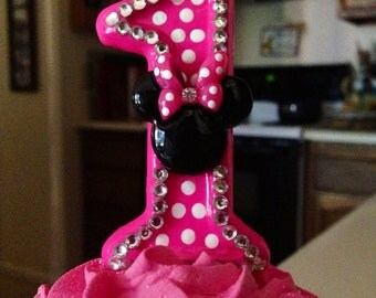 3 inch Blingy Minnie Mouse birthday candle - any number or color