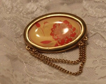 SALE......Vintage Oval Gold tone Framed Yellow and Orange Floral Brooch and Pendant with Chains