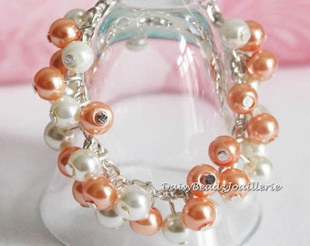 Coral and Ivory Flower Girl Bracelet, Flower Girl Jewelry, Coral Bracelet, Flower Girls Gift, Coral and Ivory Bracelet, Bridesmaid Bracelet