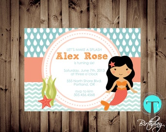 Mermaid Birthday Invitation, mermaid birthday, mermaid birthday invitation,mermaid, girl birthday