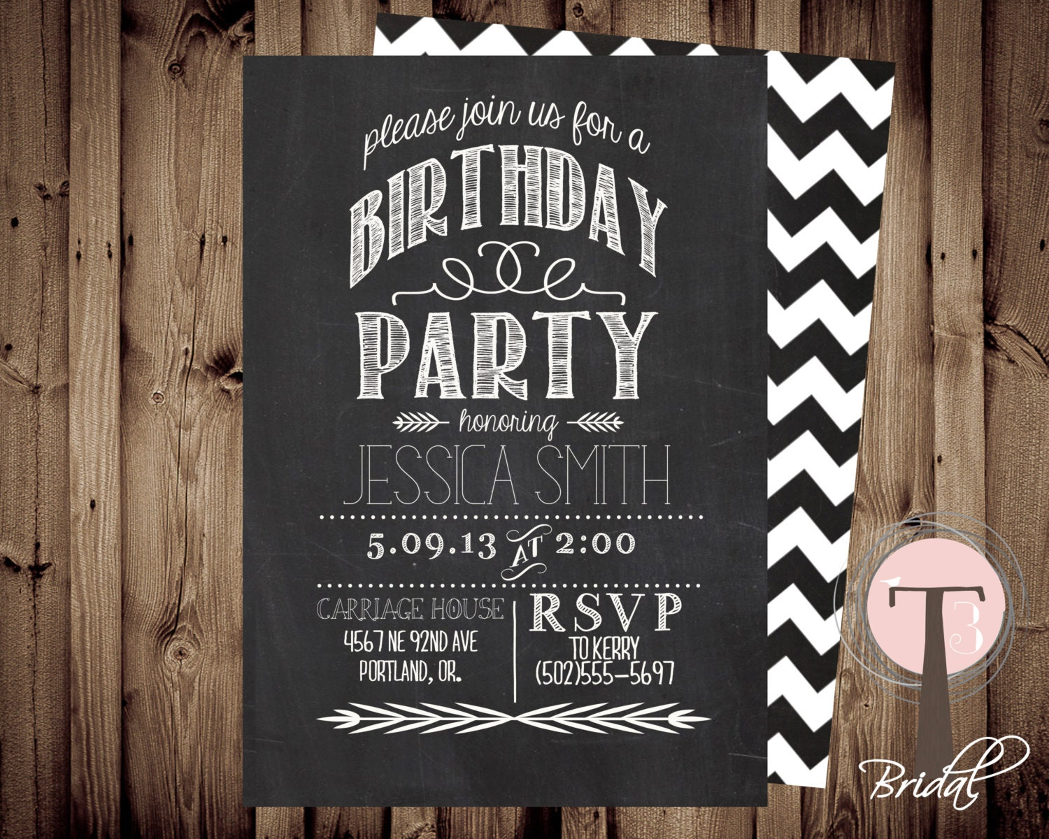 Chalkboard birthday invitation birthday invitation elegant