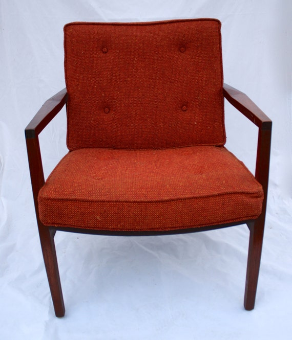 Vintage mid century modern burnt orange tweed and wood accent for Burnt orange accent chair