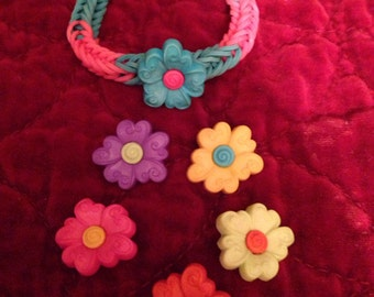 Rainbow loom flower or fish  bracelets