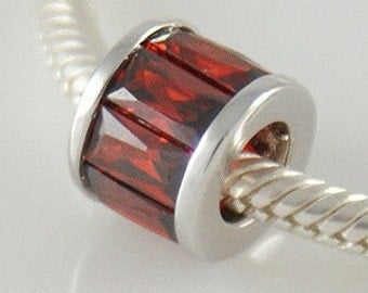 RED CZ BAGUETTE .925 Sterling Silver European Charm Bead