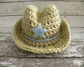 Crochet Cowboy hat ONLY in tan and baby blue. Cowboy baby boy photo prop hat.