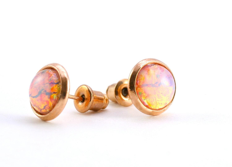 Opal Post Earrings Tiny Fire Opal Earrings Opal Stud