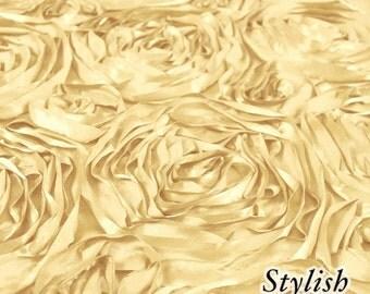 Soft Gold Satin Rosette Fabric, Floral Satin Fabric, 3D Rosette Fabric by the yard, Rosette Fabric Flower Satin- Style 1601
