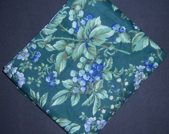 Vintage Laura Ashley Bramble Green Periwinkle Sapphire Window Valance Mint 84 X 18