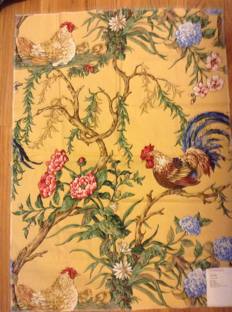 French Country Rooster Fabric Hand Printed Pattern Chanticleer