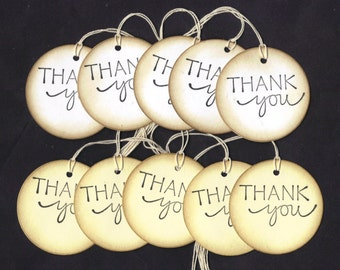 Vintage Look Thank You White or Cream Round Hang Tags Wedding Shower, Decoration, Favor Bag Tags, DIY Tags, Place / Escort Cards (set of 20)