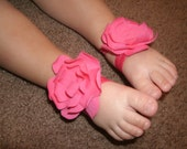 Baby Barefoot Sandals-Super Soft Cotton-Crawl Proof-Bright Pink Floral