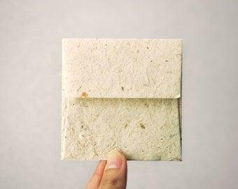 "Mini Square Mulberry Paper Envelopes - Natural colour (Set of 20) - 3""x3"""