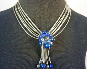 SOMETHING BLUE elegant bead cluster vintage snake chain necklace