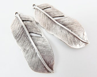 2 Feather Charms Matte Antique Silver Plated - Silver Bird Feather Tribal - Turkish Jewelry Making Supplies Findings Components