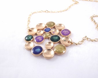 Great Christmas Gift,Purple Green Round Pendant, Lavender Necklace,Statement Pendant,Purple Gold Necklace,Coctail Jewelry,Xmas Gifts for Her