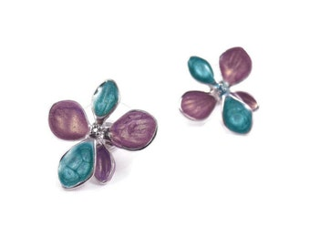 blue silver earrings for women flower purple studs floral jewelry nature inspired statement multicolored jewelry enamel posts