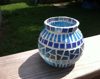 Lines of blue vase