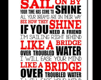 A3 Bridge over troubled waters Print Typography song music lyrics for framing   ( Print Only )