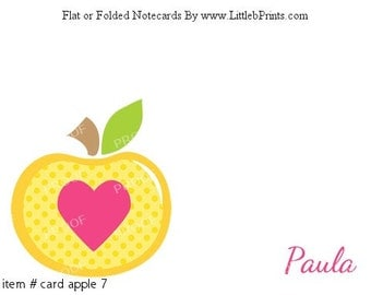 Heart Apple Note Cards Set of 10 personalized flat or folded cards