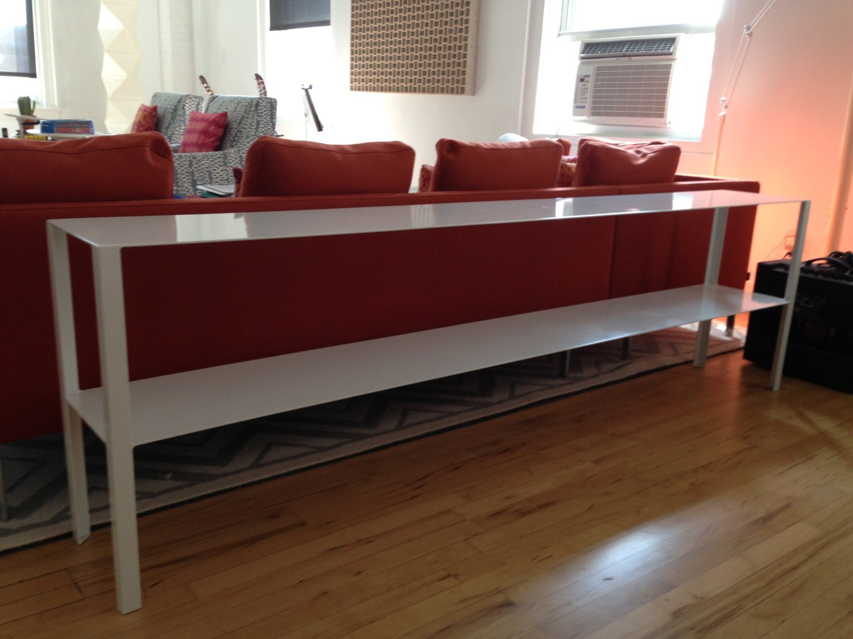 Sleek modern 7 foot long sofa table by CraftMetalWorks on Etsy