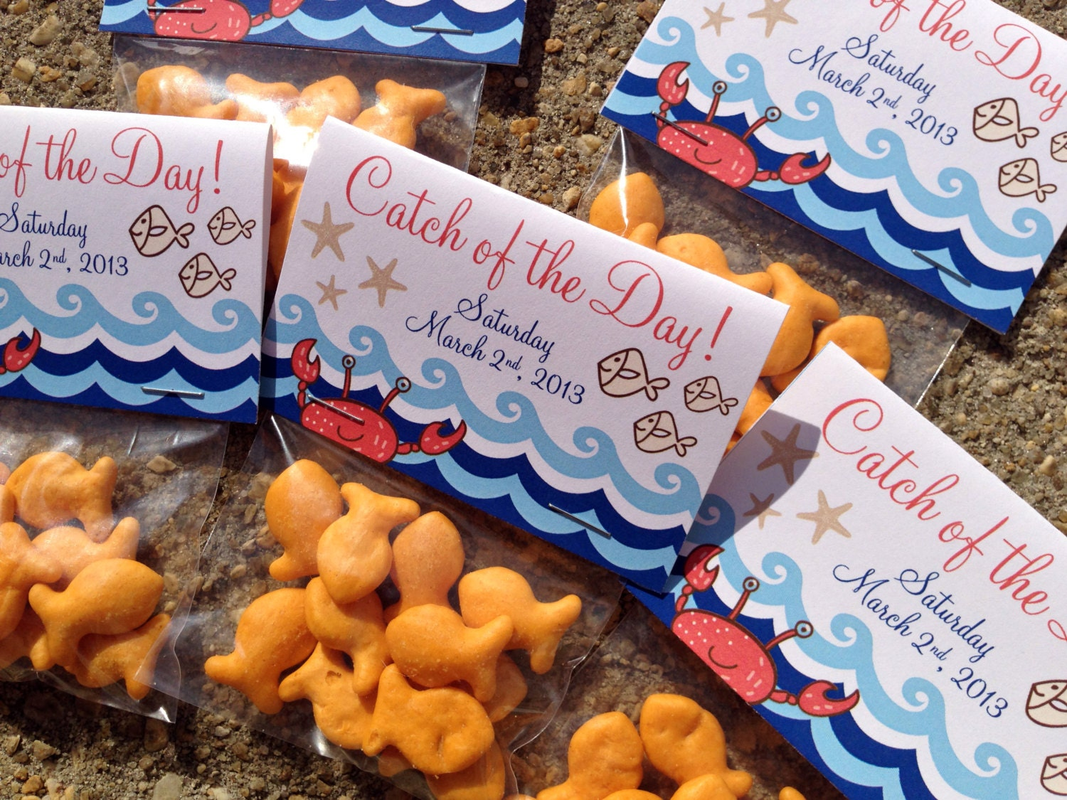 Baby Shower Pool Party Ideas party ideas party city holiday birthday party ideas baby shower ideas theme party ideas party city Nautical Themed Catch Of The Day Folded Favor Tag Goldfish Treat Bag Tag
