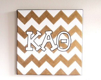 hand painted kappa alpha theta letters outline with chevron background 12x12 canvas official licensed product