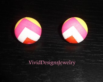 Multi color Stud Chevron Statement Earrings - Yellow Pink Coral and White Statement Earrings