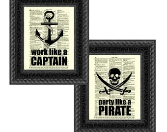 Work Like a Captain, Party Like a Pirate Print on 1897 Antique Dictionary Pages Set of Two Nautical Art Prints, Mixed Media Wall Decor