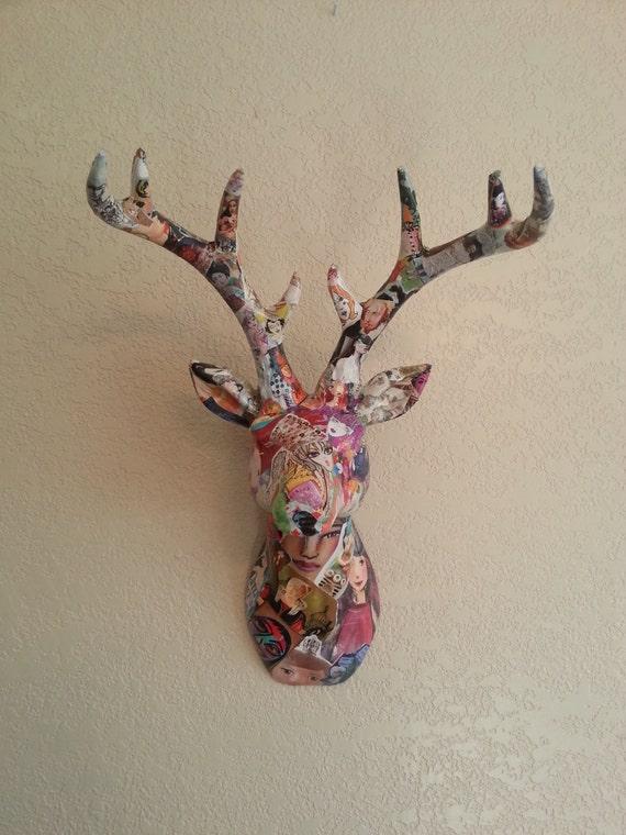Colorful Art Decoupage Ceramic Deer Head Faux Taxidermy Animal