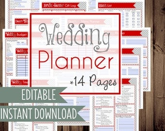 Wedding Planner, DIY Wedding Binder, Wedding Planner Printables, Letter Size, 14 Pages, Instant Download, Editable/Fillable, RED