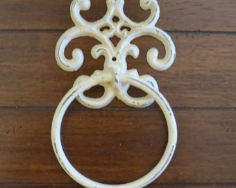 Shabby Chic Towel Ring/Ivory or Pick Your Color/Heavy Cast Iron Towel Hook/Shabby Chic Bathroom/ Fleur de Lis design