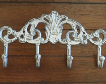 Wall Hook / Towel Hanger / Coat Rack / Cast Iron Hook Rack / Silver or Pick Color /  Bathroom Hook / Key Holder / Shabby Chic Home Decor