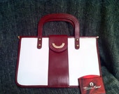 Vintage White and Oxblood Etienne Aigner Hand Bag with Mirror
