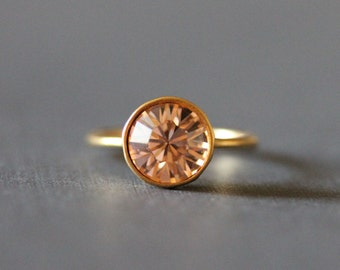 Solitaire Swarovski Crystal Ring 18K Gold Plated Ring(Champaign)