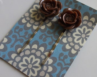 Chocolate Flower Hair Clips