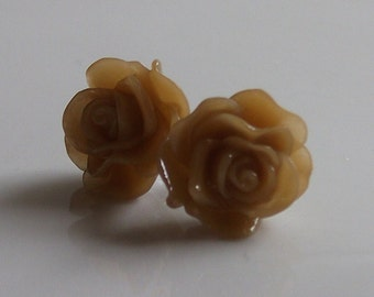 Small Latte Rose Earrings