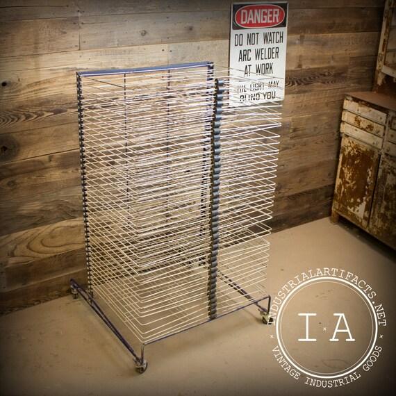 Industrial Drying Rack Cabinet ~ Vintage industrial screen print printer s by
