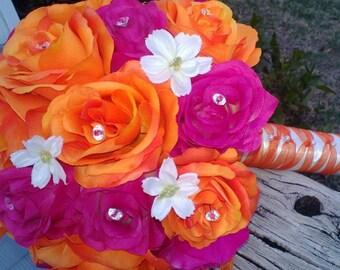 Fuchsia Orange Rose Wedding Bouquet, Fuchsia Bouquet, Fuchsia Orange Bouquet, Fuchsia Wedding Beach Orange Wedding, Fuchsia Bridal Orange