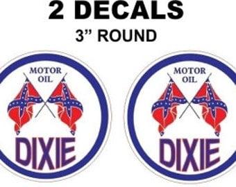 2 Dixie Gasoline Oil Decals