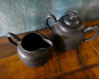 Antique Esthetic Movement Repousse Quadrupal Plate Sugar Bowl and Creamer