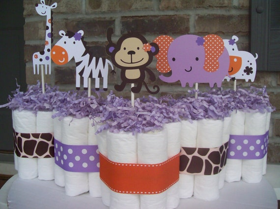 Diaper Cakes CoCalo Jacana ThemedSet of 5 by JudeBugsBabySweets