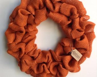 Burlap Fall Wreath, Fall Wreath, Autumn Wreath, Thanksgiving Wreath, Orange Wreath, Orange Burlap Wreath, Bubble Wreath