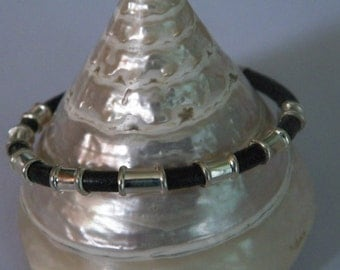 Handmade 4 mm Natural Black Leather Cord Cuff Bangle Bracelet .925 Sterling Silver