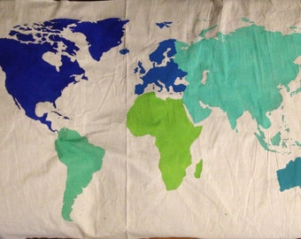 World Map Wall Tapestry in Multi-Color  ....Customizable....