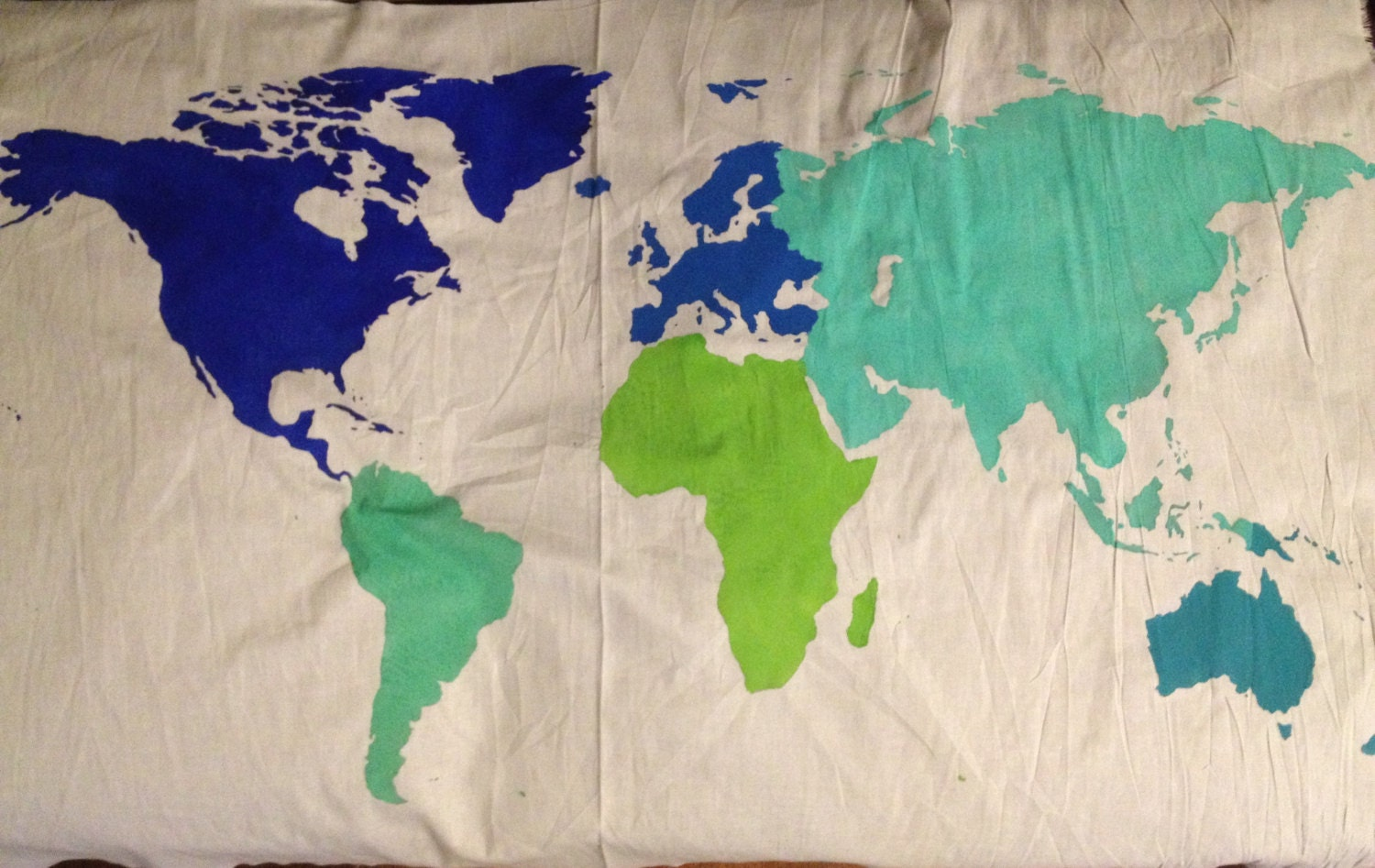 World Map Wall Tapestry in Multi Color Customizable