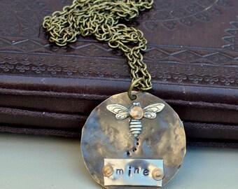 Bee Mine Vintaj & Trinity Brass Hand Stamped Pendant on Antique Bronze Chain, Vintaj Necklace, Stamped, OOAK, UK Seller