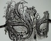 Black Swan Laser Cut Venetian Mask with Sparking Rhinestones Masquerade Mask