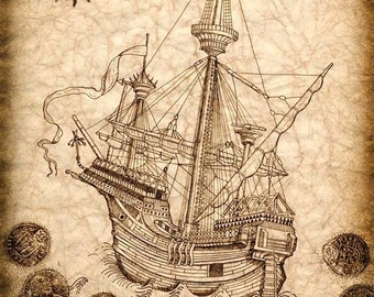 Pirate Ship Art Print 11 x 14, Spanish Galleon with Treasure Coins Surrounding; Pirate Ship Sailing Away With Jolly Rogers Flying