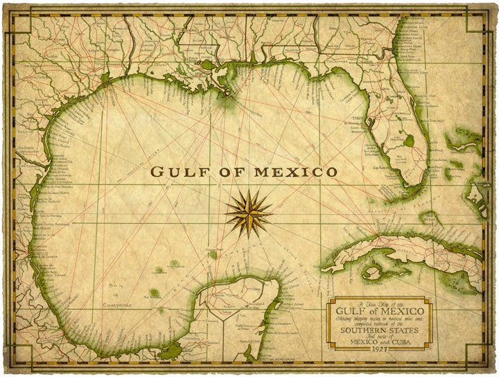 Gulf of Mexico Map Art c1927 14 x 19 Map Old