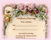 Marriage Certificate, Floral, Wedding Paper Goods, Roses, Bride, Groom, Wedding Certificate, Pink Roses